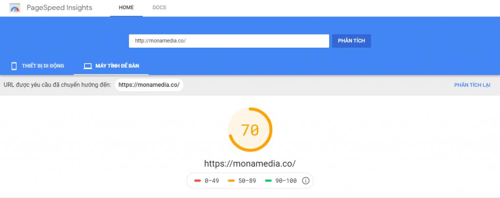Tốc độ kiểm tra trang monamedia.co